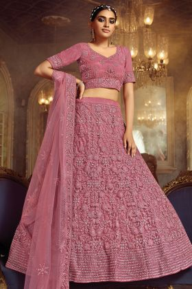Pink Attractive Bridal Heavy Zarkan Worked Lehenga Choli In Soft Net Fabric
