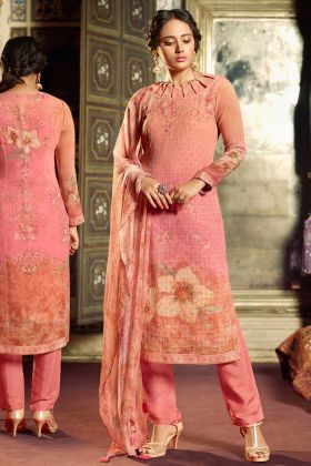 Pink Color Semi Stitched Straight Designer Suit