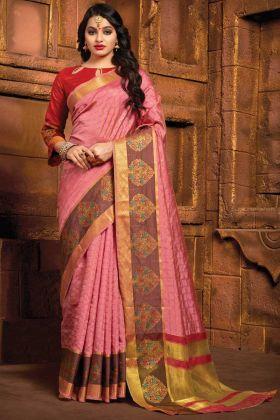 Pink Color Art Silk Saree Online