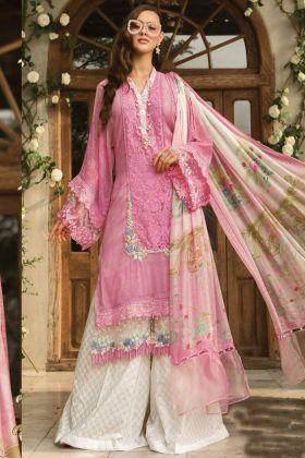 Pink Color Cambric Cotton Pakistani Lawn Salwar Suit with Ciffon Dupatta