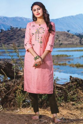 Pink Color Casual Wear Readymade Kurti With Bottom