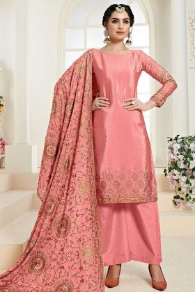 Pink Color Chinon Palazzo Dress With Matching Dupatta