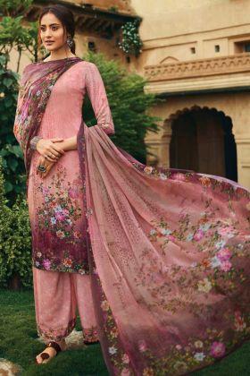Pink Color crepe designer Salwar Suit
