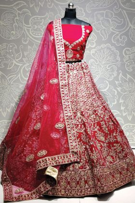 Pink Color Entrancing Velvet Embroidered Bridal Lehenga