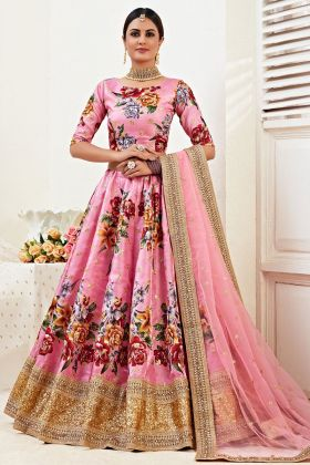 Pink Color Fancy Floral Designer Banglori Satin Lehenga Choli