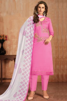 Pink Color Festival Wear Glaze Cotton Salwar Suit