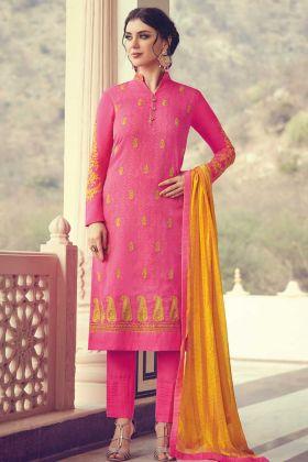 Pink Color Georgette Jacquard Salwar Suit