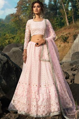 Pink Color Heavy Embroidery Work Wedding Lehenga Choli