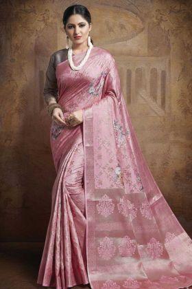 Pink Color Jacquard Silk Weaving Saree