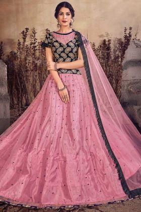 Pink Color Jari Embroidery Work Net Lehenga Choli
