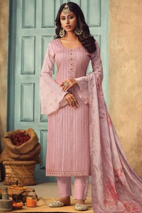 Pink Color Party Wear Pure Chinon Salwar Suit