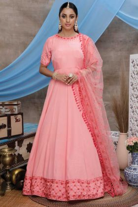 Pink Color Party Wear Silk Latest Gown