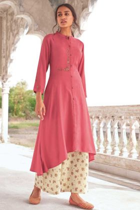 Pink Color Party Wear Super Fine Modal Khadi Readymade Kurti