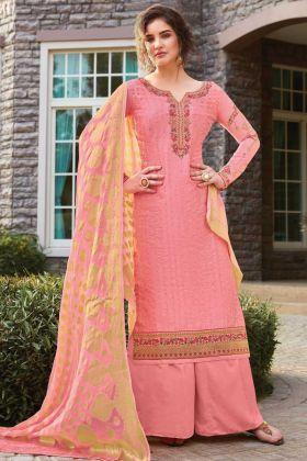 Pink Color Party Wear Tussar Art Silk Salwar Suit