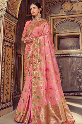Pink Color Patch Border Art Silk Banarasi Traditional Saree