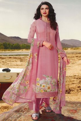 Pink Color Pure Crepe Plazzo Suit