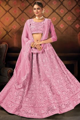 Pink Color Soft Net Heavy Embroidered Lehenga Collection