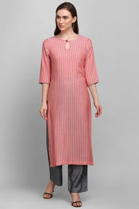 Pink Color Stylish Designer Rayon Printed Readymade Kurti