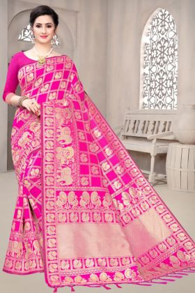 Pink Color Wedding Banarasi Soft Silk Saree With Rich Weaving Pallu
