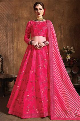 Pink Color Wedding Embroidery Designer Raw Silk Lehenga
