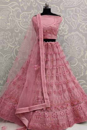 Pink Designer Wedding Lehenga Choli For Bridesmaid