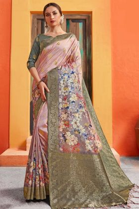 Pink Digital Printed Silk Traditional Saree
