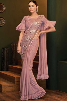 Pink Party Wear Saree For Unmarried Girl