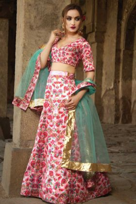 Pink Satin Party Wear Lehenga With Net Dupatta
