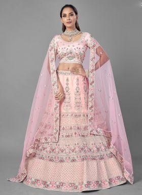 Pink Soft Net Party Wear Lehenga Choli