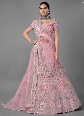 Pink Soft Net Zarkan Work Lehenga Choli