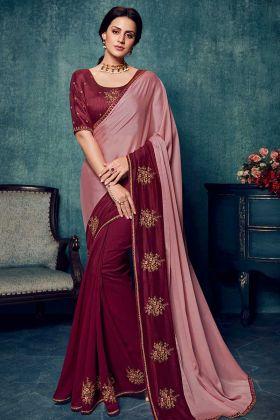 Pink Vichitra Silk Wedding Saree Blouse Designs