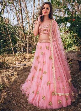 Pink Zari Work Party Wear Lehenga Choli