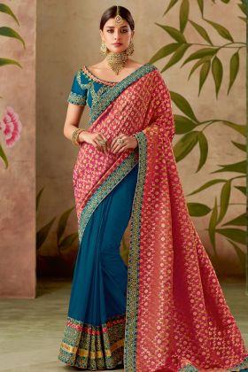 Pink And Blue Half N Half Saree Online
