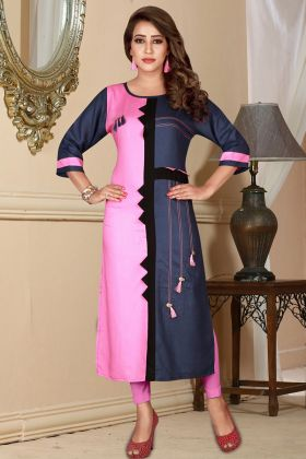 Pink and Navy Blue Rayon Printed Kurti