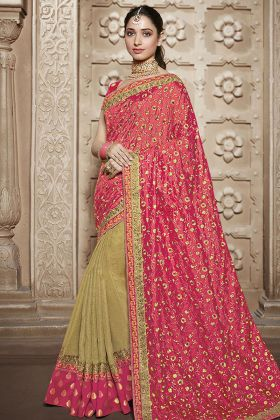 Pink and Off White Traditional Saree Online