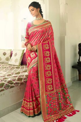 Pink and Rani Color Banarasi Silk Wedding Saree With Resham Embroidery Work