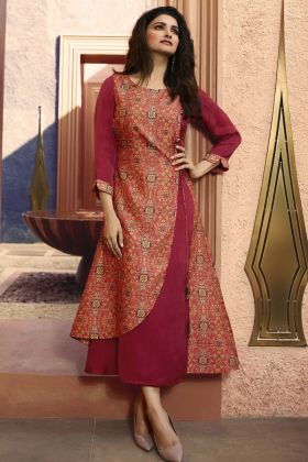 Pink and Rani Color Printed Kurti