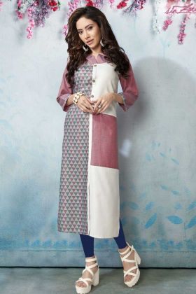 Pink and White Linen Printed Kurti