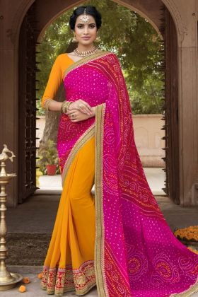 Pink and Yellow Color Bandhani Saree