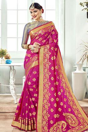Pink Banarasi Art Silk Festive Saree Online