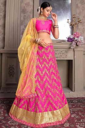 Pink Banglori Silk Wedding Lehenga Choli Inner Santoon With Cancan Canvas
