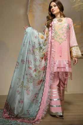 Pink Cambric Cotton Pakistani Suit Jannat Lawn
