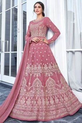 Pink Color Apple Georgette Anarkali Suit With Embroidery Work