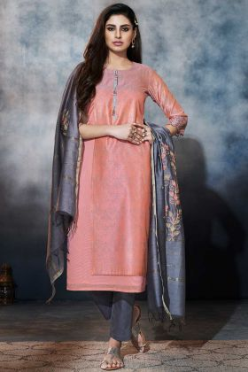 Pink Color Art Silk Pant Style Dress With Resham Embroidery Work