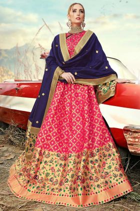 Pink Color Banarasi Silk Jacquard Designer Lehenga Choli With Jacquard Work