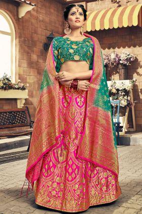 Pink Color Banarasi Silk Lehenga Choli Online