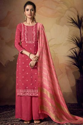 Pink Color Banarasi Viscose Palazzo Suit In Embroidered Work