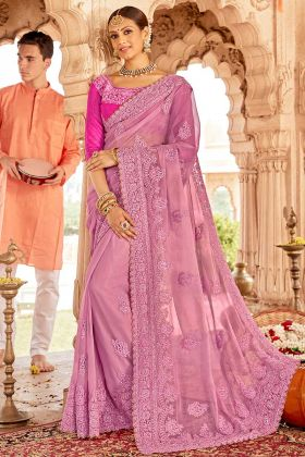 Pink Color Chiffon Embroidered Saree With Art Silk Blouse
