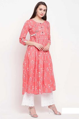 Pink Color Cotton Casual Kurti In Prints And Hand Work