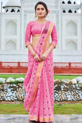 Pink Color Cotton Chiffon Festival Saree With Printed Work